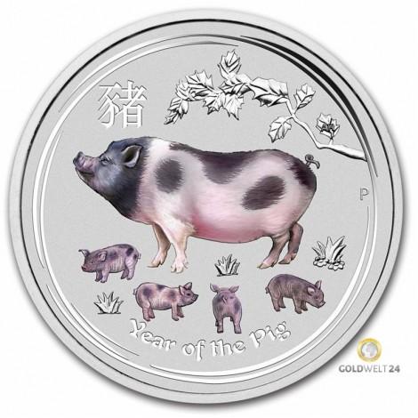 1 Kilo Silber Lunar Schwein Color 2019