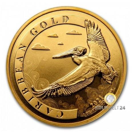 1 Unze Gold Barbados Pelikan 2021
