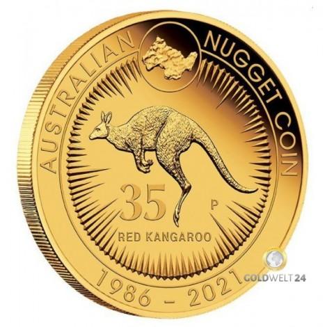 2 Unzen Gold Känguru Nugget 2021 PP