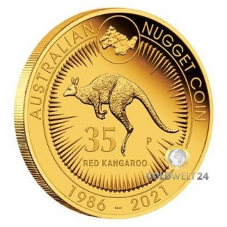 1 Unze Gold Känguru Nugget Jubiläum 2021 PP