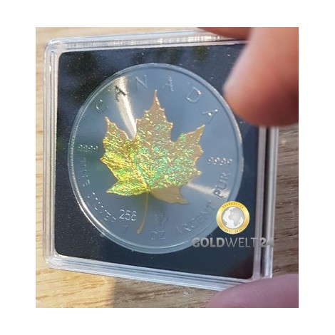1 Unze Silber Maple Leaf Golden Holo 2021
