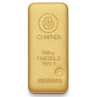 500g Goldbarren C. Hafner