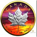 1 Unze Silber Maple Leaf Sunset Golden Ring 2021