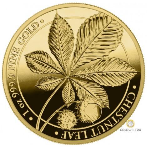 1 Unze Gold Kastanienblatt 2021 PP