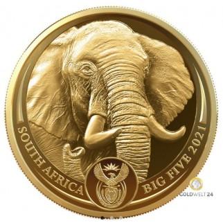 1 Unze Gold Big Five II Elefant 2021 PP