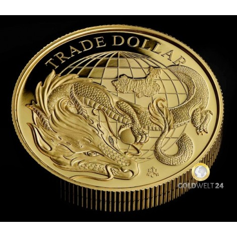 1 Unze Gold Chinese Trade Dollar 2021 PP