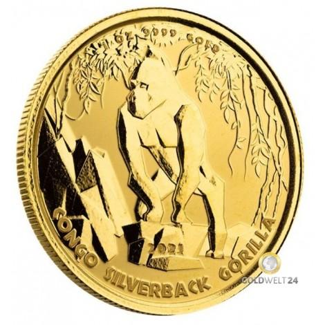 1 Unze Gold Gorilla Kongo 2021 PP