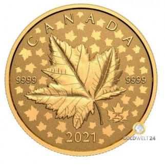 1 Unze Gold Maple Leaf Winnipeg 2021