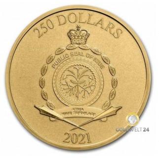 1 Unze Gold Niue 250 Dollars Kong 2021