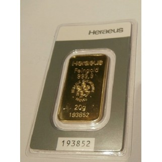 20 Gramm Goldbarren Heraeus