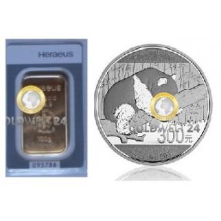 Tafel 3* Goldbarren Heraeus und Silbermünze 1 kg Panda PP
