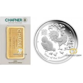 Tafel 3* Goldbarren C. Hafner und Silbermünze 1 kg Lunar Hahn PP