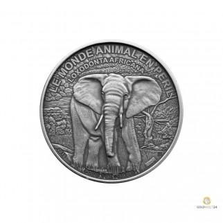 1 Unze Silber Elefant in Gefahr 2016