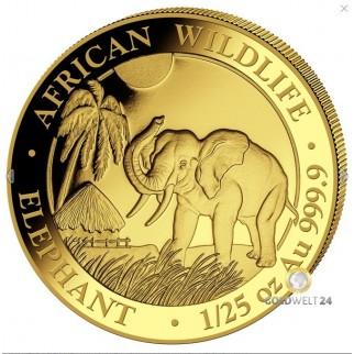 1/25 Unze Gold Somalia Elefant 2017