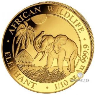 1/10 Unze Gold Somalia Elefant 2017