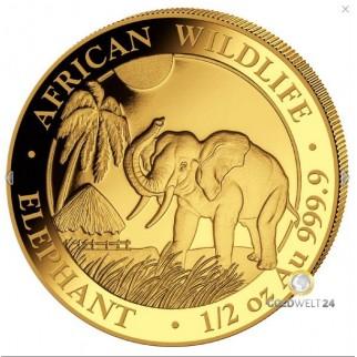 1/2 Unze Gold Somalia Elefant 2017