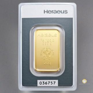 20 g Goldbarren Heraeus