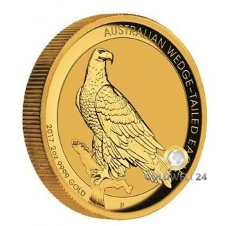 2 Unzen Gold Wedge Tailed Eagle 2017 High Relief PP