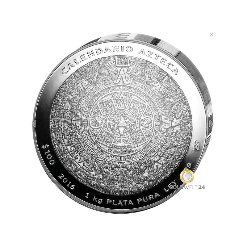 ein Kilo Silber Aztekenkalender 2016