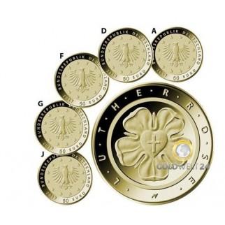"""5*50 Euro Goldmünze """"Lutherrose"""" 2017 (A, D, F , G, J)"""